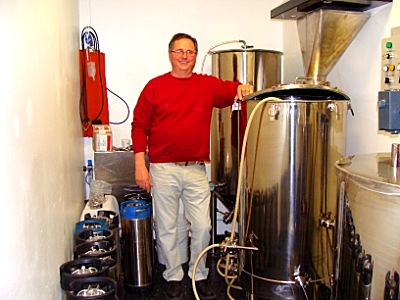 Steve Fazzary in his new all-grain brewery