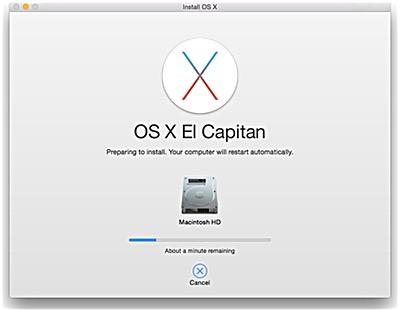 OS X El Capitan Installing
